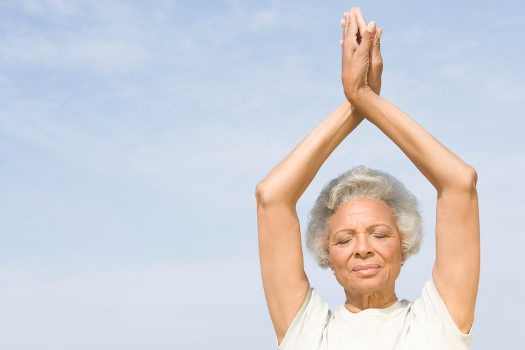 helping seniors with meditation and yoga